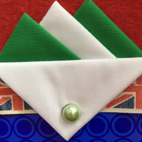 Green and White Hankie with White flap and Pin